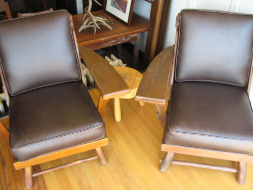Signed Old Hickory Deck Porch Chairs Set Leather 1940s 1950s Martinsville IN