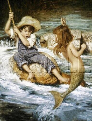 BOY FISHING CATCHES MERMAID GIRL *CANVAS* FANTASY  CHILDREN CHILD Art PRINT
