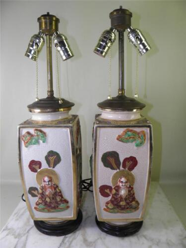ANTIQUE JAPANESE SATSUMA FIGURAL IMORTALS GILDED PAIR OF LAMPS VASES