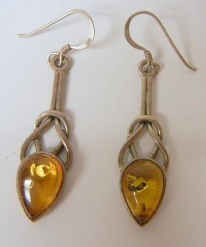 Antique Chinese Knotted Sterling Silver Amber Earrings