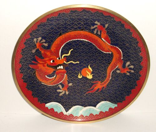 RARE CHINESE BRONZE CLOISONNE BLUE ENAMEL FIRE BREATHING DRAGON PLATE TRAY