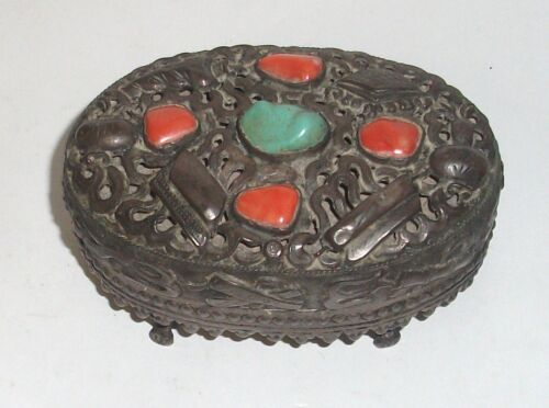 RARE OLD CHINESE TURQUOISE AND CORAL SILVER FOOTED TRINKETJAR BOX