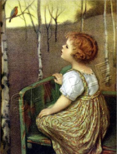 """SPRING SONG"" VINTAGE BLIND GIRL ~ ROBIN BIRD TREE GLUCKLICH *CANVAS* ART PRINT"