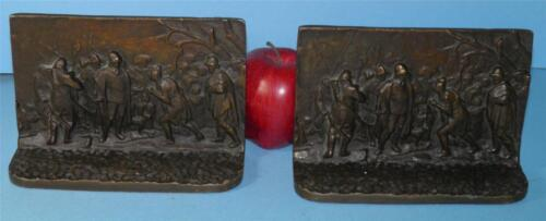 ANTIQUE BRONZED METAL FIGURAL NATIVE AMERICAN INDIAN SPANISH SOLDIERS BOOKENDS