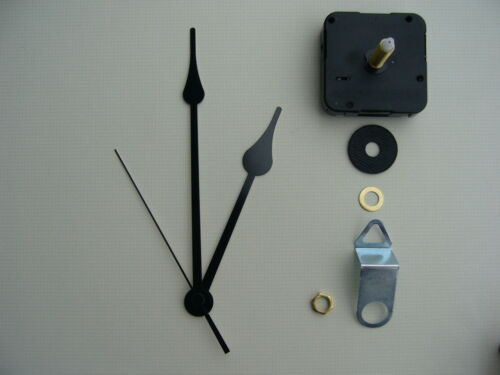 HIGH TORQUE CLOCK MOVEMENT  EXTRA LONG SPINDLE 6 INCH BLACK FRENCH SPADE HANDS