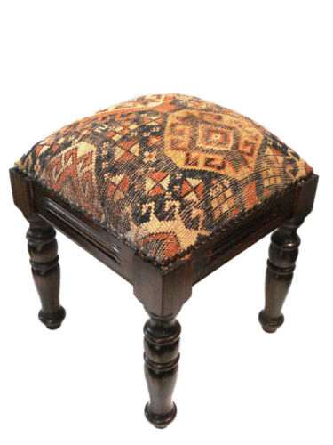 Square stool upholstered in an antique 19th century Caucasian Kuba Fragment