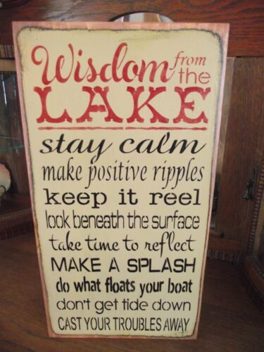 WISDOM FROM THE LAKE, KEEP IT REEL, FLOAT YOUR BOAT  primitive wood sign