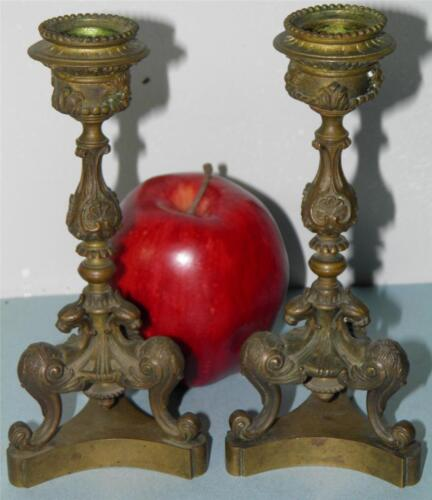 ANTIQUE EMPIRE FIGURAL ORNATE BRONZE PAIR OF CANDLESTICKS CANDLE HOLDERS
