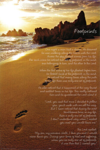 FOOTPRINTS POSTER One Night a Man Had a Dream - Inspirational NEW 24x36