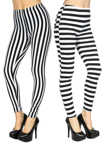Black And White Striped Women Footless Leggings Pants