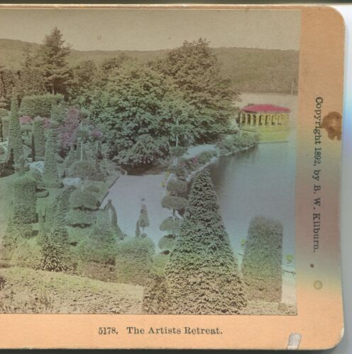 1892 HAND COLORED PHOTO STEREOVIEW by KILBURN The Artists Retreat