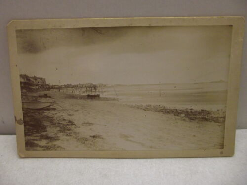 VINTAGE CABINET PHOTO BEACH SHORE LINE WATERFRONT WATER FRONT