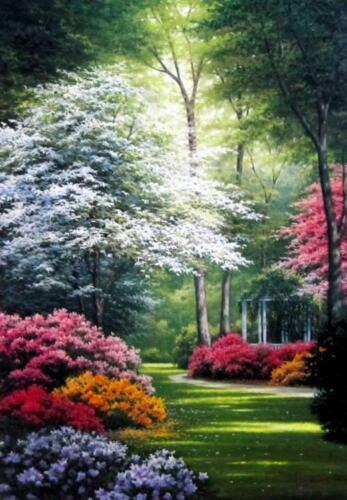 """Secluded Gazebo Garden Flower Print by Charles White Image Size  14"""" x 20"""""""