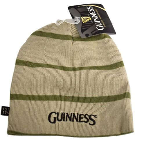 6c44019f39b Guinness Beer Reversible Mens Stone One Size Fits Most Beanie Hat Knit Cap  NWT