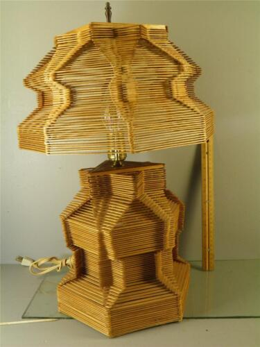 Vintage Folk Tramp Art Popsicle Sticks  Table Lamp 20'' High