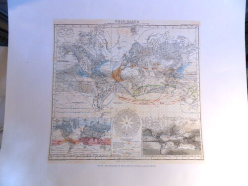 Justin Perthes World Map of Winds & Sea Streams Lithographed from the Original