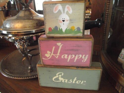 HAPPY EASTER/BUNNY primitive shelf sitter