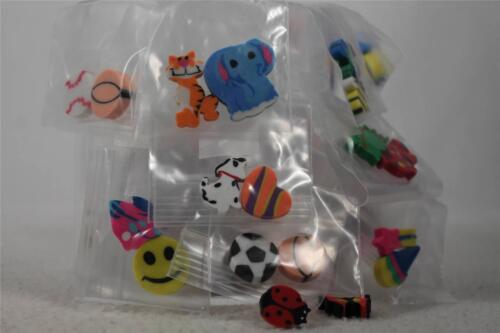 Erasers in fun Sizes,Shape & Colors Set of 60-For Birthdays,Easter,Prize Etc.New