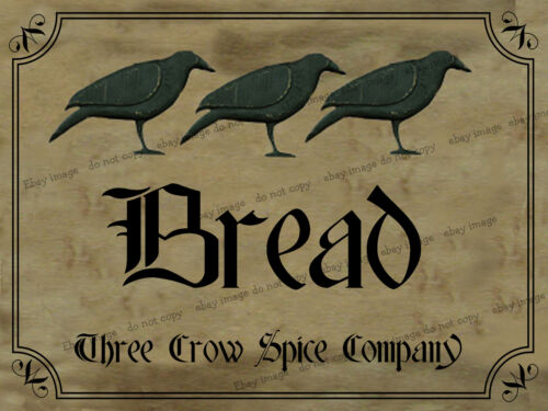 Three Crows Bread Box  Label     FH362     May Resize to needs.