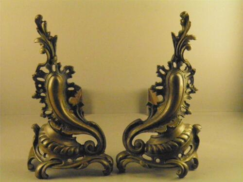 Antique French Louis XV Rococo Ornate Bronze Fireplace Andirons