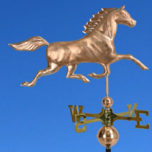 """"""" COPPER """"HORSE"""" WEATHERVANE W/COPPER BALLS & BRASS DIRECTIONAL MADE IN USA #187"""
