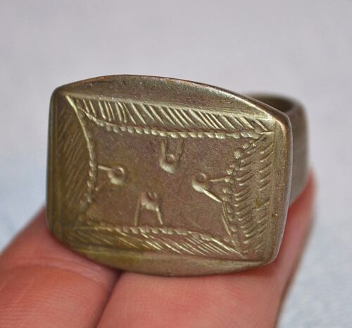 Large Antique Heavy Tuareg Ethnic Silver Tribal Ring Niger Africa - Ring Size 8