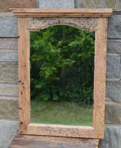EXTREME WORMY ARCHED MIRROR! HANDCRAFTED w/150 YEAR OLD RECLAIMED BARNWOOD #wd10