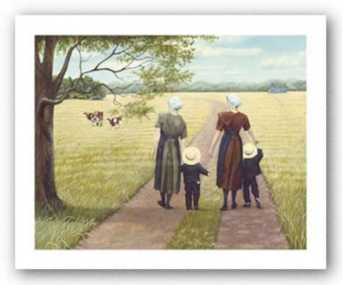 AMISH ART PRINT Mothers by Kathleen Green