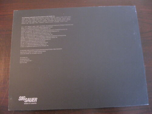 Sig Sauer Products Catalog Booklet / 2012 / New / 90 Pages / Guns / RiflesPrice Guides & Publications - 171192