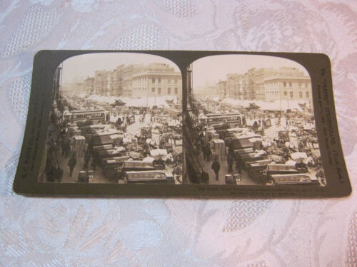 SOUTH WATER STREET PRODUCE MARKET CHICAGO STEREOVIEW CARD PHOTO ANTIQUE    T*