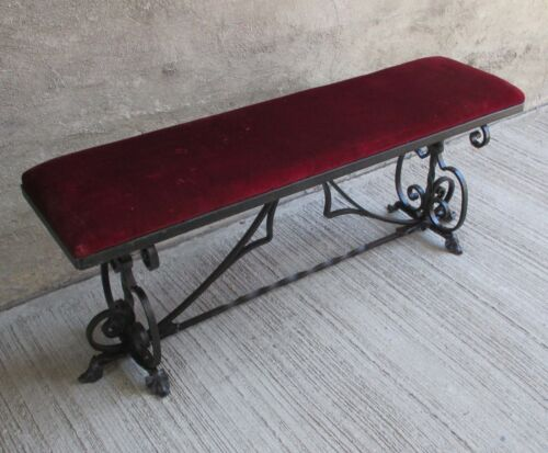 "Antique Steel, Ornate Wrought Iron 48"" Bench w/ Padded Velvet Cushion Seat"