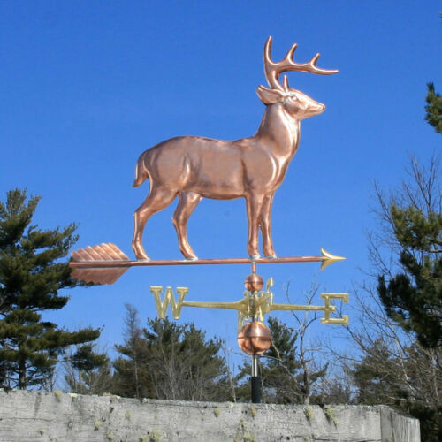 """COPPER   """" LARGE STANDING DEER """" WEATHERVANE  MADE IN USA #165"""