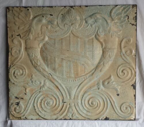 "21""x 23.5"" Wrapped Antique Tin Ceiling Tile Griffins"