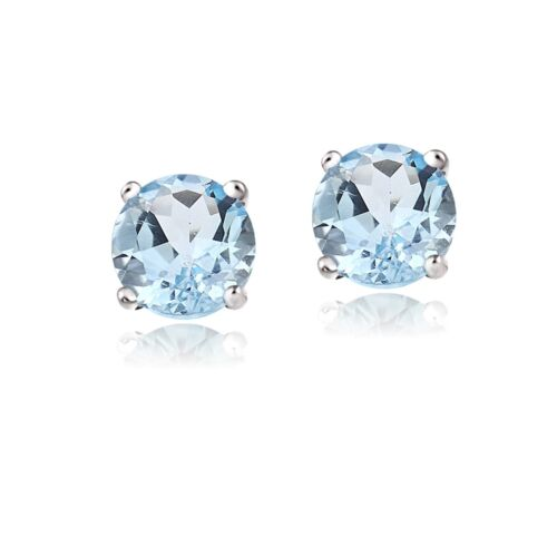 Sterling Silver 2ct Blue Topaz Round Studs Earrings