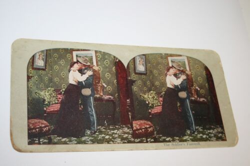 """Vintage Antique US Military """"The Soldier's Farewell"""" Army Stereoview Photo RARE"""