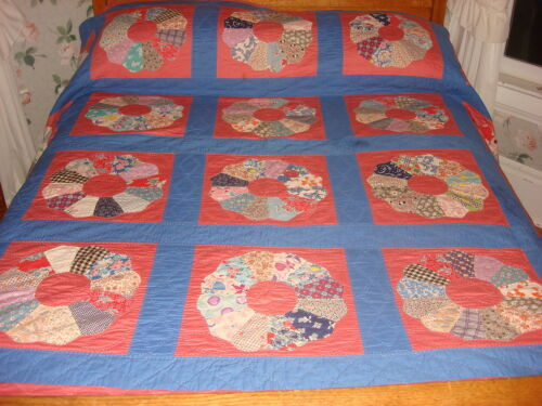 """Antique Quilt DRESDEN PLATE Pink & Blue, Multi-Color Plates,Hand Quilted 82""""x96"""""""