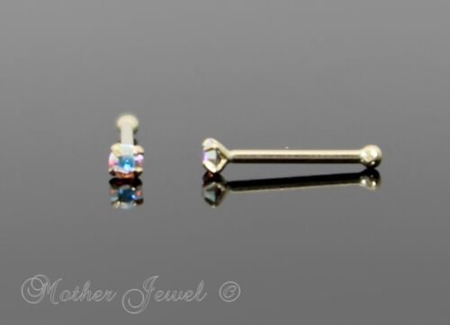 22G GENUINE REAL SOLID 9K YELLOW GOLD 1.5MM AURORA BALL END NOSE RING STUD BONE