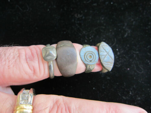 4- MONETA - Beautifully Cleaned Ancient Roman & Byzantine Rings -Bronze & Pewter