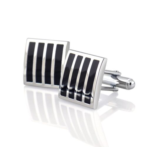 Black Silver Square Mens Dress Wedding Party Gift Stripe Cuff Links Cufflinks