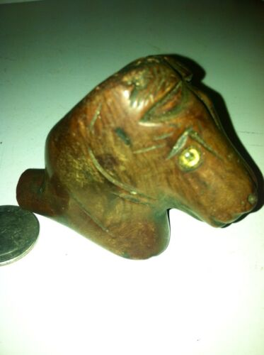 Folk Art Carved Horsehead Pipe Glass Eyes