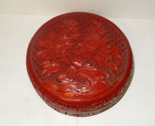 RARE LARGE VINTAGE CINNABAR CARVED FLORAL DESIGN LACQUER BOX