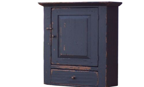 PAINTED PRIMITIVE RUSTIC PINE WALL CUPBOARD CABINET COUNTRY FARMHOUSE COLONIAL