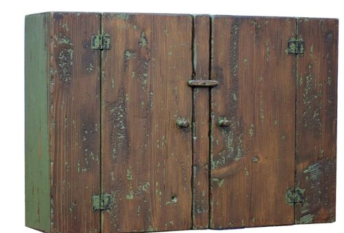 PRIMITIVE COUNTRY HANGING WALL CUPBOARD CABINET PAINTED COLONIAL FARMHOUSE PINE