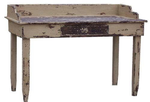 PRIMITIVE PAINTED DESK COUNTRY RUSTIC FARMHOUSE VANITY TABLE PINE EARLY AMERICAN