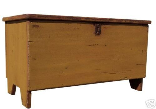 BLANKET CHEST BOX TRUNK PRIMITIVE FARMHOUSE PAINTED COFFEE TABLE RUSTIC BENCH