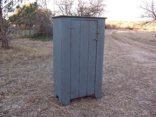 EARLY AMERICAN PAINTED FARMHOUSE RUSTIC PRIMITIVE CHIMNEY JELLY CUPBOARD CABINET