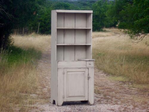 STEP BACK CUPBOARD PRIMITIVE RUSTIC PAINTED FARMHOUSE DRY SINK HUTCH CABINET