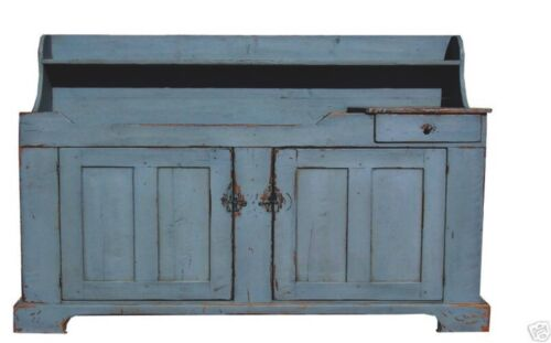 PAINTED PRIMITIVE DRY SINK VANITY CABINET COUNTRY FARMHOUSE RUSTIC FURNITURE