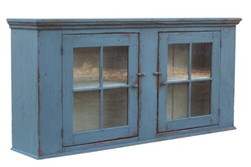 PRIMITIVE PAINTED KITCHEN WALL CUPBOARD FARMHOUSE CABINET COUNTRY FURNITURE PINE