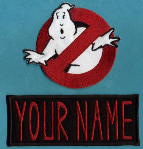 CHILD size Ghostbusters No Ghost 1  & Custom Name Tag Patch Set [Iron on backed]